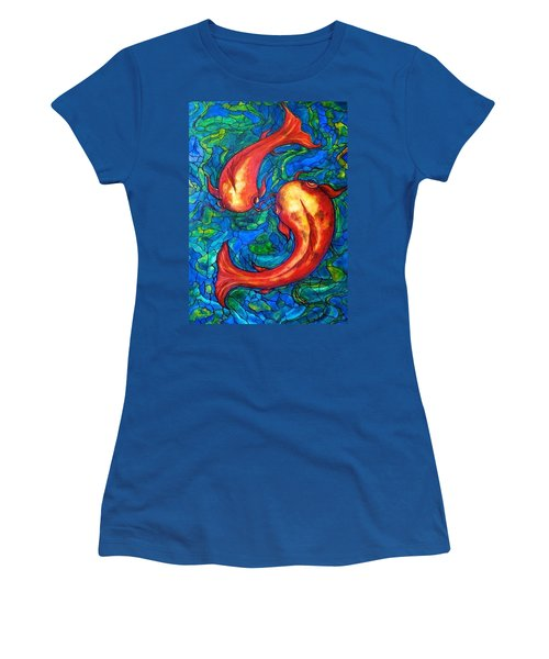 Women's T-Shirt (Junior Cut) featuring the painting Courtship  by Rae Chichilnitsky