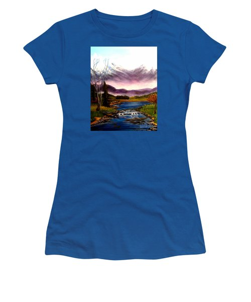 Women's T-Shirt (Junior Cut) featuring the painting Crystal Lake With Snow Capped Mountains by Kimberlee Baxter