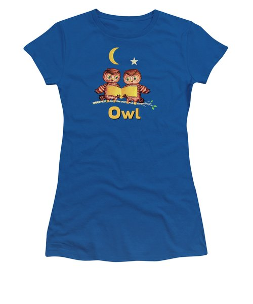 Cute Baby Owls Starry Night And Moon Women's T-Shirt