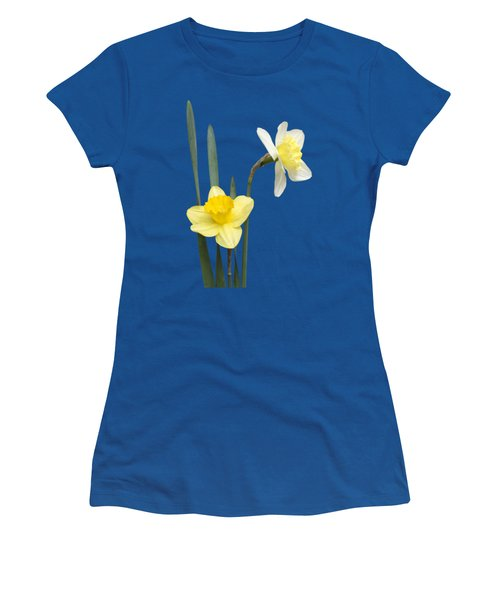Women's T-Shirt (Junior Cut) featuring the photograph Daffodil Pair - Transparent by Nikolyn McDonald