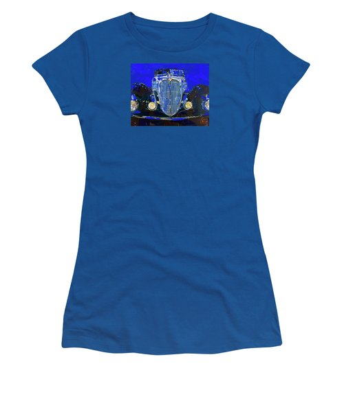 Women's T-Shirt (Junior Cut) featuring the painting Delahaye Vintage Car Blue by Walter Fahmy