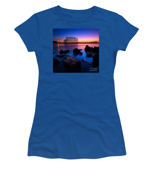 Distant Shores At Night Women's T-Shirt (Junior Cut) by Rod Jellison