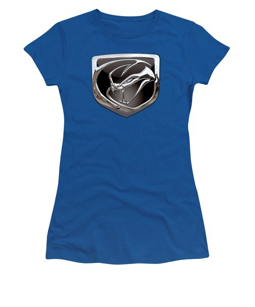 Dodge Viper 3 D  Badge Special Edition On Blue Women's T-Shirt (Junior Cut) by Serge Averbukh