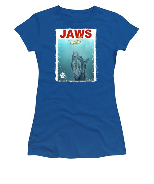 Dog-themed Jaws Caricature Art Print Women's T-Shirt (Athletic Fit)