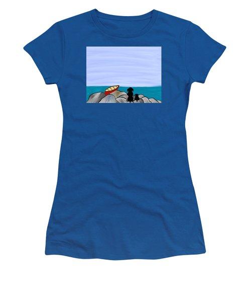 Dogs At Beach Women's T-Shirt (Junior Cut) by Paula Brown
