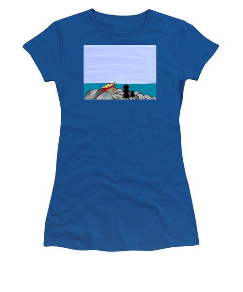 Dogs At Beach Women's T-Shirt (Athletic Fit)