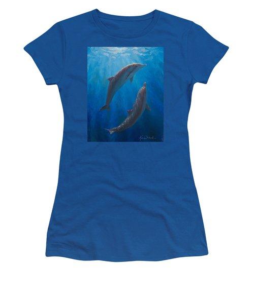Dolphin Dance - Underwater Whales - Ocean Art - Coastal Decor Women's T-Shirt