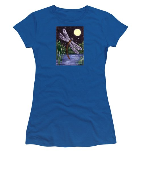 Women's T-Shirt (Junior Cut) featuring the painting Dragonfly Dreaming by Sandra Estes