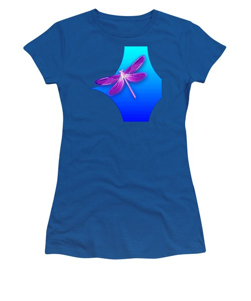 Women's T-Shirt featuring the digital art Dragonfly Pink On Blue by Deleas Kilgore