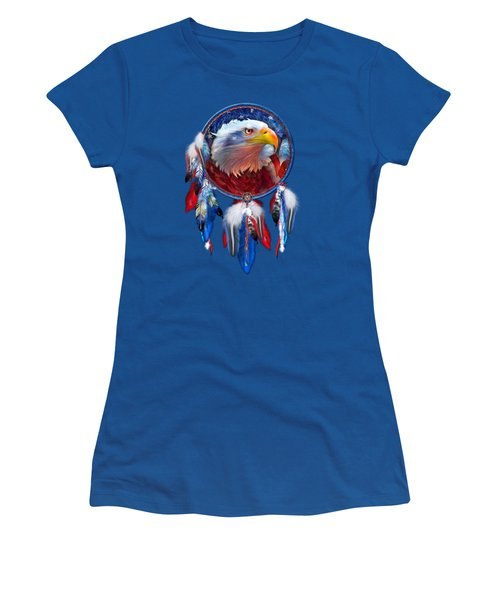 Women's T-Shirt (Junior Cut) featuring the mixed media Dream Catcher - Eagle Red White Blue by Carol Cavalaris