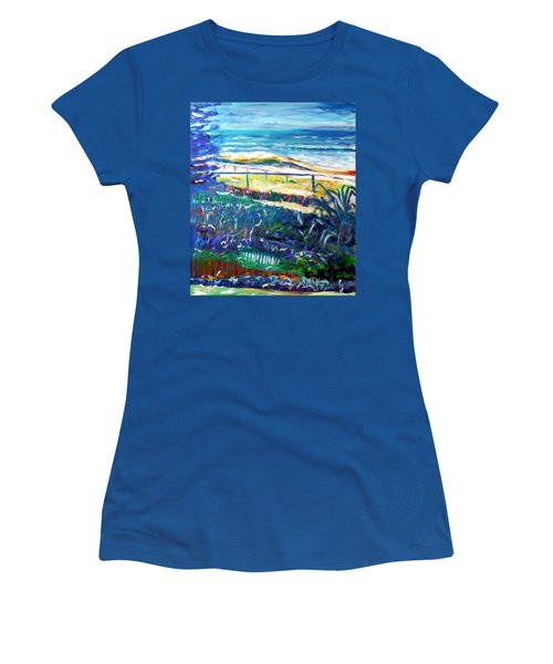 Women's T-Shirt (Junior Cut) featuring the painting Dune Grasses by Winsome Gunning