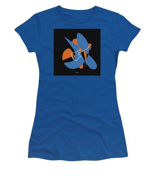 Electric Bass In Blue Women's T-Shirt (Junior Cut) by David Bridburg