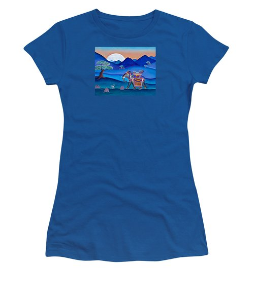 Women's T-Shirt (Junior Cut) featuring the painting Elephant And Monkey Stroll by Lori Miller