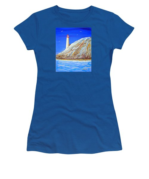 Women's T-Shirt (Junior Cut) featuring the painting Entering The Harbor by J R Seymour