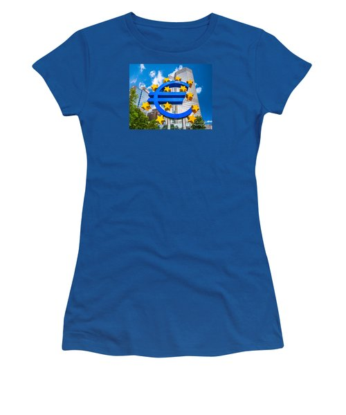 Euro Sign At European Central Bank In Frankfurt, Germany Women's T-Shirt (Junior Cut) by JR Photography