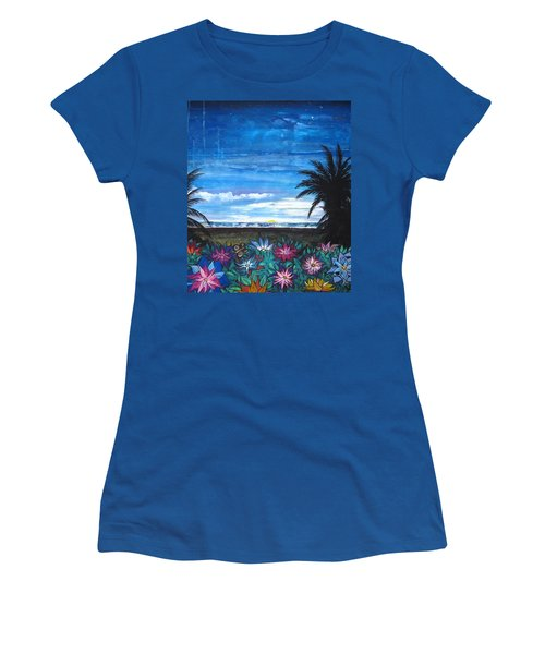 Tropical Evening Women's T-Shirt (Junior Cut) by Mary Ellen Frazee