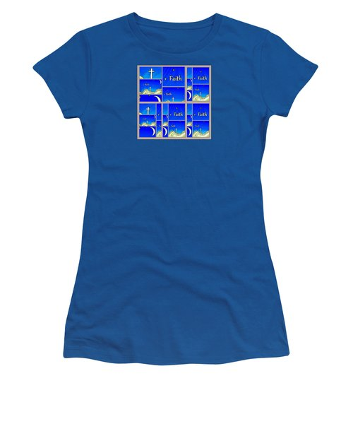 Women's T-Shirt (Athletic Fit) featuring the mixed media Faith 6 by Ann Calvo