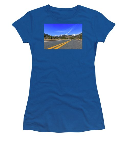 Fall River Road With Mountain Background Women's T-Shirt (Junior Cut) by Peter Ciro
