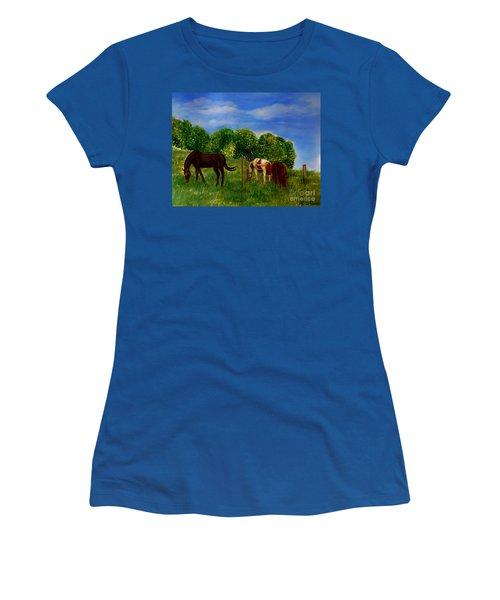 Field Of Horses' Dreams Women's T-Shirt (Junior Cut) by Kimberlee Baxter