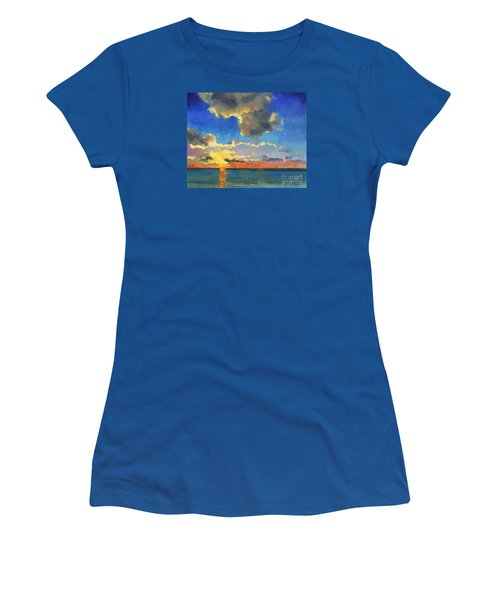 Women's T-Shirt (Junior Cut) featuring the painting First Light by Nancy  Parsons