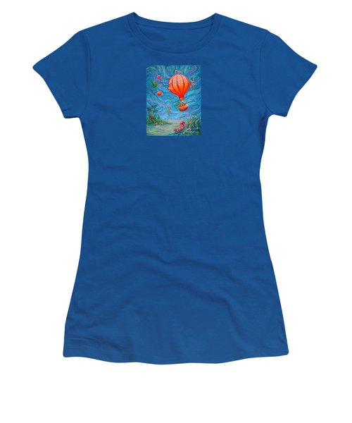 Women's T-Shirt (Junior Cut) featuring the painting Floating Under The Sea by Dee Davis
