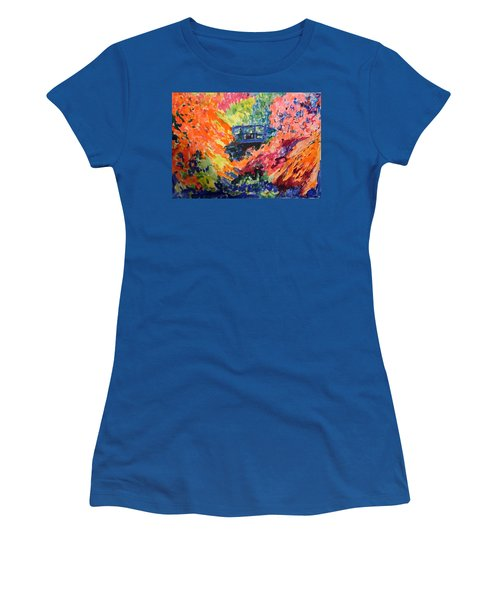 Floral View Of The Bridge Women's T-Shirt (Junior Cut) by Esther Newman-Cohen