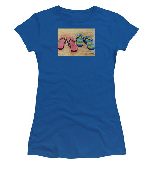 Women's T-Shirt (Junior Cut) featuring the painting Florida Dress Shoes by Judy Mercer