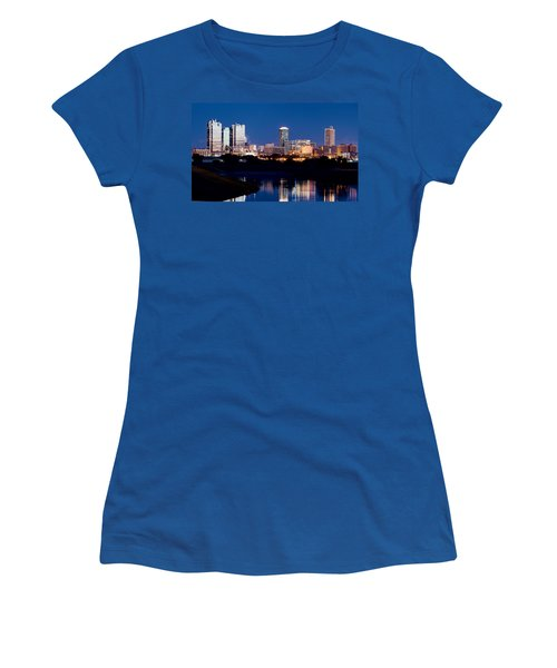 Fort Worth Skyline At Night Poster Women's T-Shirt