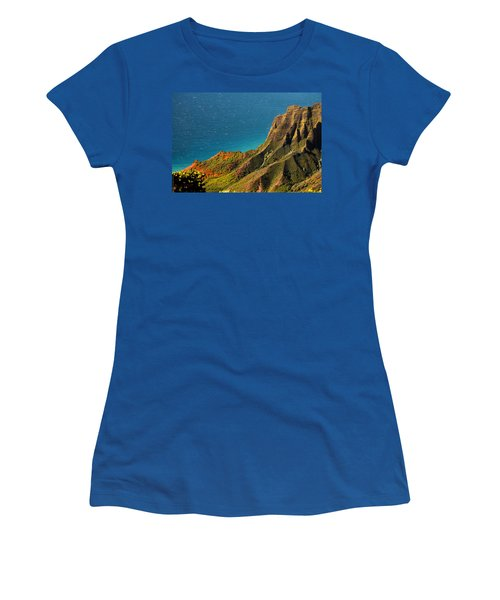 Women's T-Shirt (Junior Cut) featuring the photograph From The Hills Of Kauai by Debbie Karnes