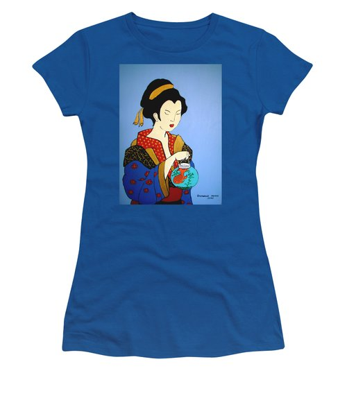 Women's T-Shirt (Junior Cut) featuring the painting Geisha With Fish by Stephanie Moore