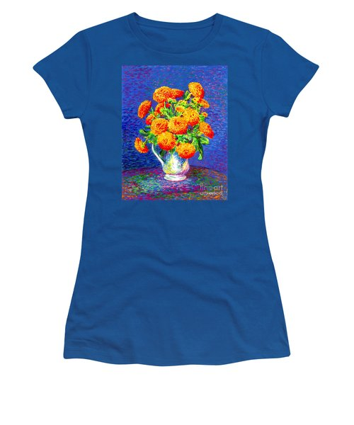 Gift Of Gold, Orange Flowers Women's T-Shirt (Athletic Fit)