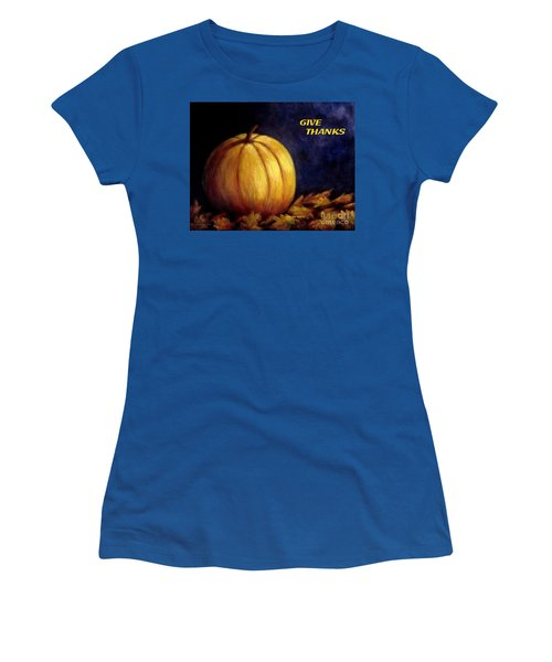 Give Thanks Autumn Painting Women's T-Shirt (Junior Cut) by Annie Zeno