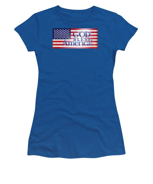Women's T-Shirt (Junior Cut) featuring the mixed media God Bless America by Shevon Johnson