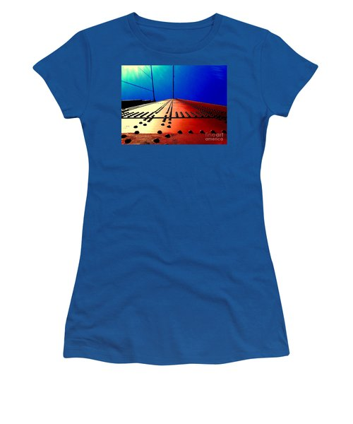Golden Gate Bridge In California Rivets And Cables Women's T-Shirt (Junior Cut) by Michael Hoard