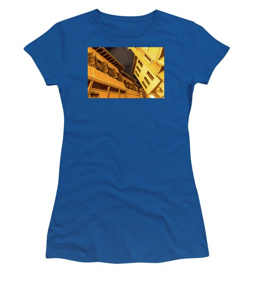 Golden Yellow Night - Chic Zigzags Of Oriel Windows And Serrated Roof Lines Women's T-Shirt