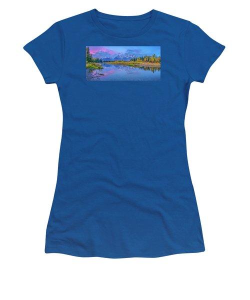Grand Teton Sunrise Panoramic Women's T-Shirt (Athletic Fit)