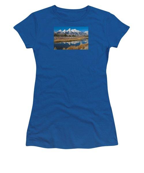 Women's T-Shirt (Junior Cut) featuring the photograph Grand Tetons by Gary Lengyel
