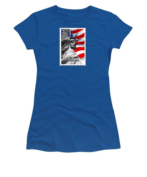 Graphic Statue Of Liberty With American Flag Text Freedom Women's T-Shirt (Junior Cut) by Elaine Plesser