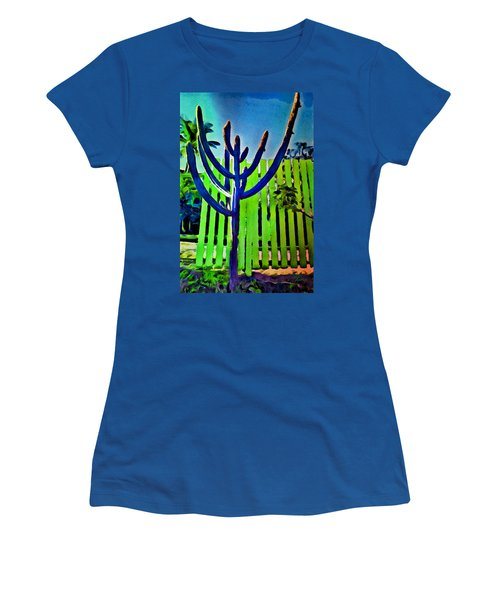 Women's T-Shirt (Athletic Fit) featuring the painting Green Fence by Joan Reese