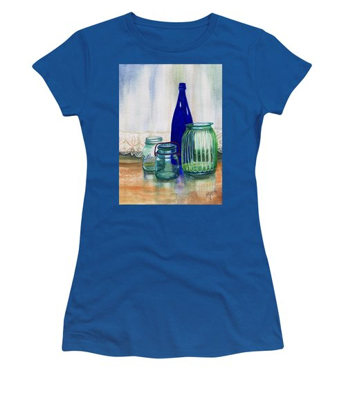 Women's T-Shirt (Junior Cut) featuring the painting Green Jars Still Life by Marilyn Smith
