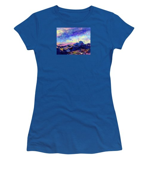 Women's T-Shirt (Junior Cut) featuring the painting Half Dome Summer Sunrise by Walter Fahmy