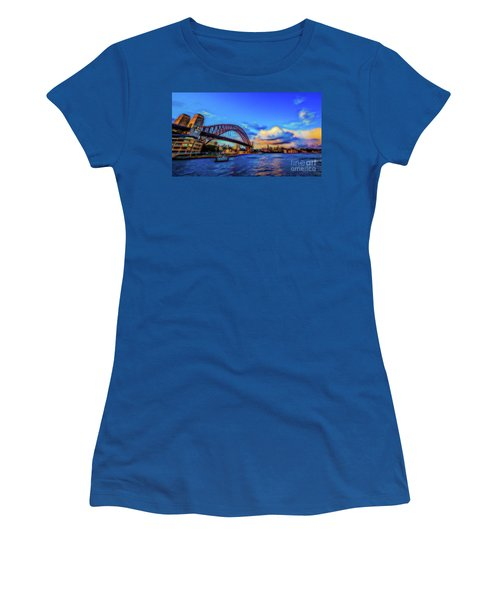 Women's T-Shirt (Junior Cut) featuring the photograph Harbor Bridge by Perry Webster