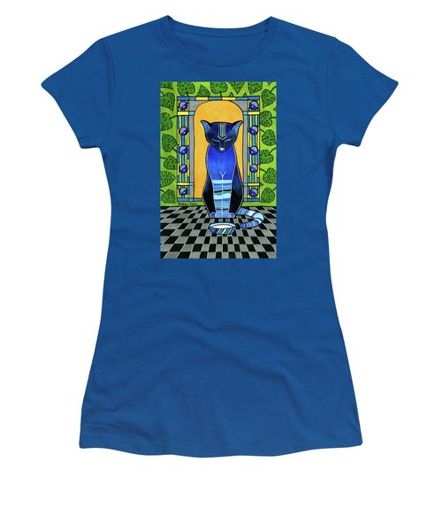 Women's T-Shirt (Athletic Fit) featuring the painting He Is Back - Blue Cat Art by Dora Hathazi Mendes