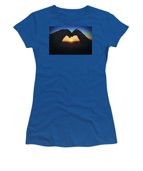 Heart Shaped Hand Silhouette - Sunset At Lapham Peak - Wisconsin Women's T-Shirt (Junior Cut) by Jennifer Rondinelli Reilly - Fine Art Photography