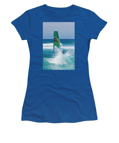 Hookipa Windsurfing North Shore Maui Hawaii Women's T-Shirt (Junior Cut) by Sharon Mau