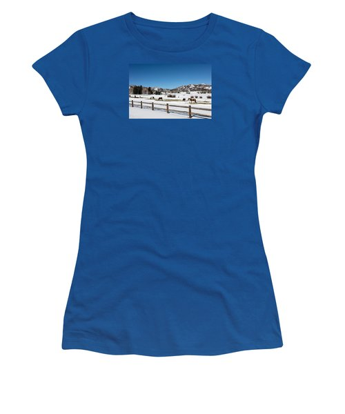 Horses On A Small Farm Near The Aspen Airport Women's T-Shirt (Athletic Fit)