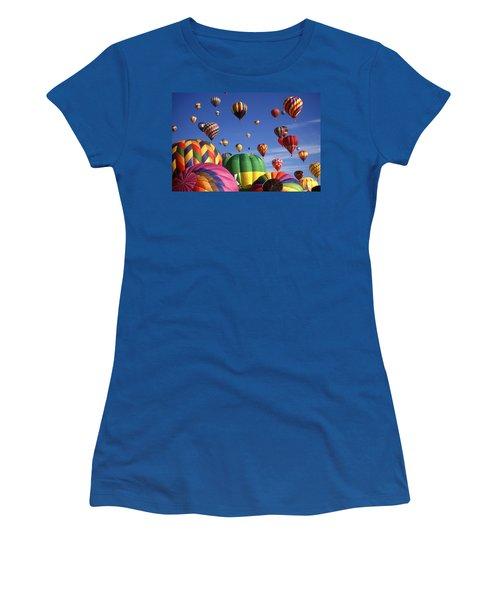 Beautiful Balloons On Blue Sky Women's T-Shirt (Junior Cut) by Art America Gallery Peter Potter