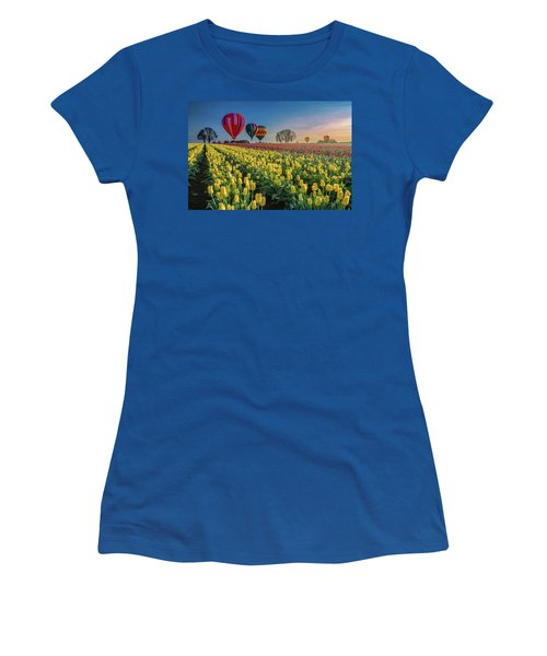 Hot Air Balloons Over Tulip Fields Women's T-Shirt