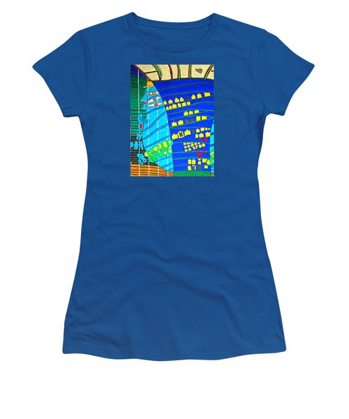 Hundertwasser Blue Moon Atlantis Escape To Outer Space Women's T-Shirt (Athletic Fit)
