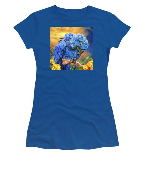 Women's T-Shirt (Athletic Fit) featuring the mixed media Hyacinth Macaw by Carol Cavalaris